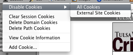 Web Developer: Disable Cookies