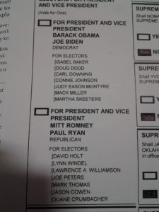 Close up of my non-vote for President